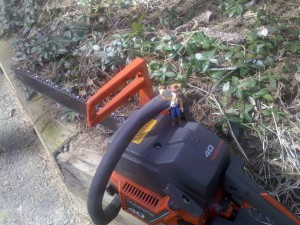 Woody is not too sure whether he wants the chain saw back in operation